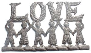 "Haitian metal art sign ""love"""