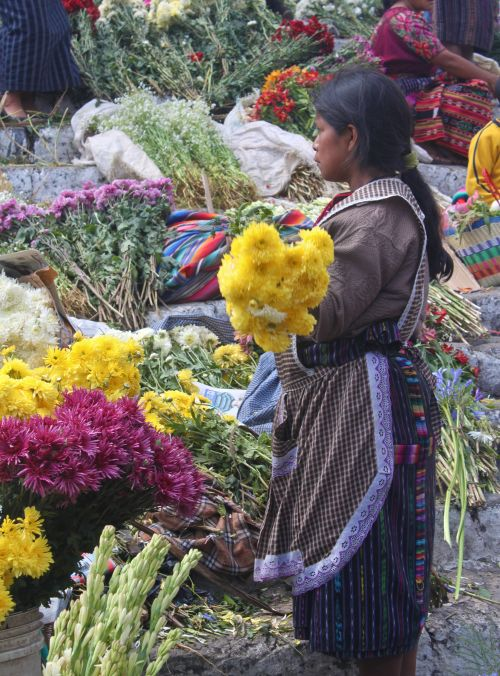 flower seller on church steps