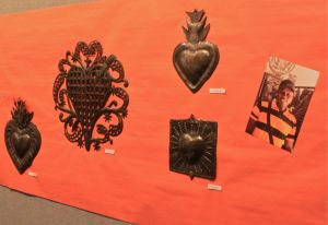 hearts on wall, recycled metal art