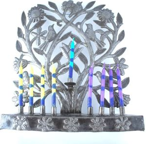 menorah with flowers in the original metal