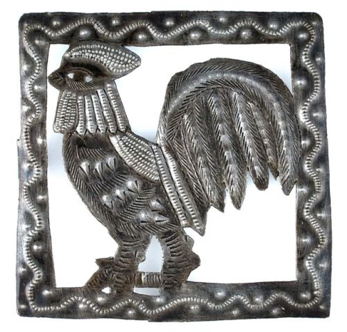 recycled rooster trivet from Haiti