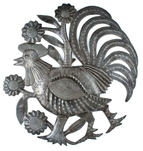 recycled metal art from Haiti, round rooster