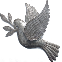 recycled metal dove from haiti