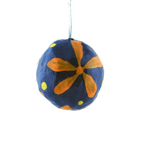 Papier-mâché ornament with flower