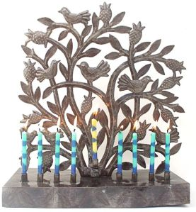 recycled metal tree of life menorah