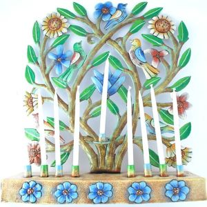 painted recycled menorah with flowers and birds from haiti