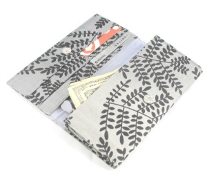 silver and black silk wallet