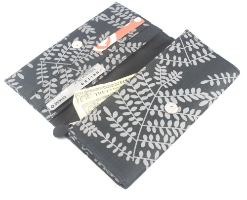 black and gray silk wallet
