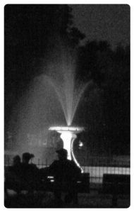Patterson Park fountain by night