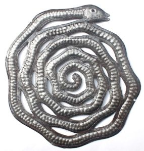 recycled metal art snake