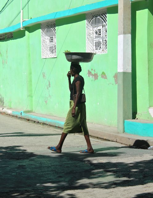 woman walking in Jacmel