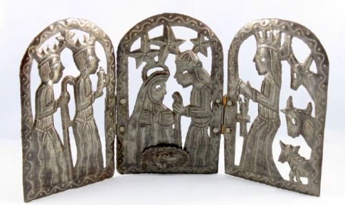 recycled metal triptych, three wise men