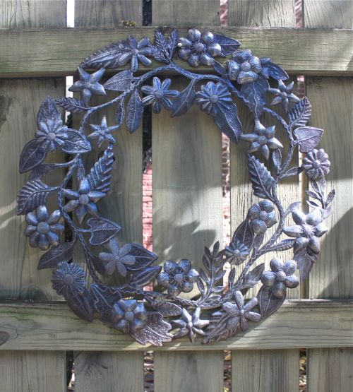 recycled metal wreath from Haiti
